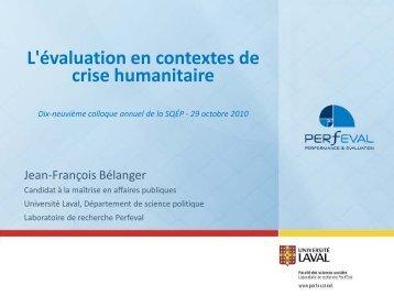 L'évaluation en contextes de crise humanitaire - La Société ...