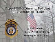 Export Enforcement: Policing the Avenues of Trade