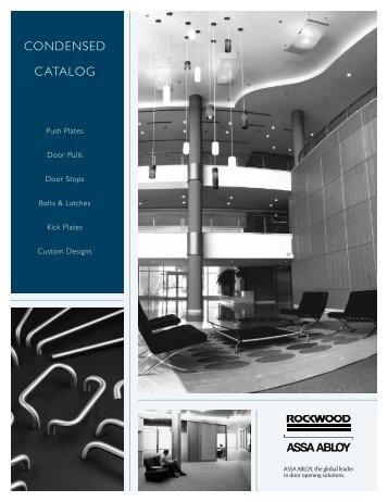 CONDENSED CATALOG - Rockwood Manufacturing
