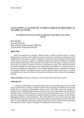 LA FUNCIÓN Y LA ACCIÓN DEL TUTOR EN FORUM DE DISCUSIÓN