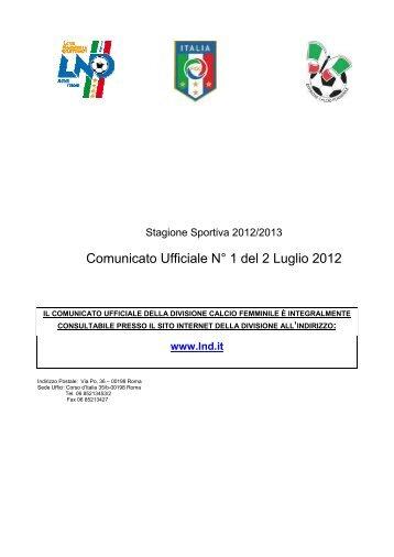 Divisione Calcio Femminile - Attività Ufficiale 12-13 - Diritto Calcistico
