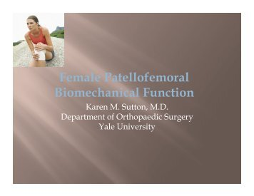 Female Patellofemoral Biomechanical Function