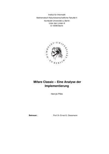 Mifare Classic -- Eine Analyse der Implementierung