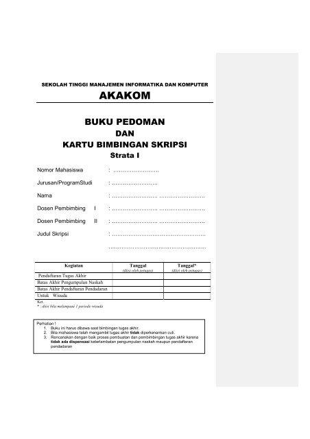 Buku Pedoman Dan Bimbingan Skripsi Pjm Stmik Akakom