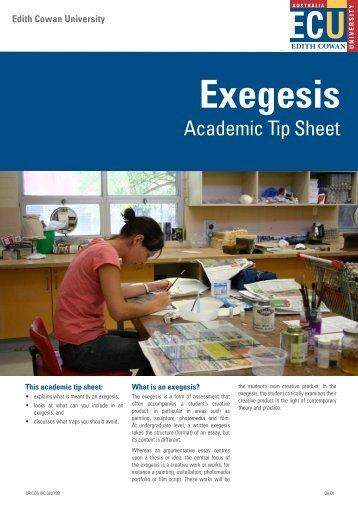 Exegesis - Edith Cowan University