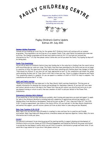 Fagley Children's Centre Update Edition 29: July 2011