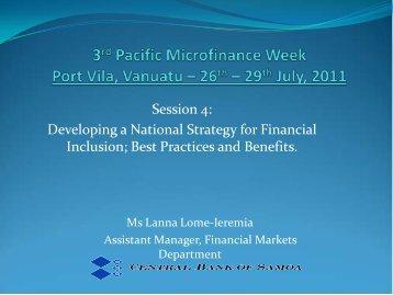 3rd Pacific Microfinance Week Port Vila, Vanuatu – 26th – 29th July ...