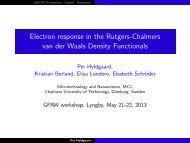 Electron response in the Rutgers-Chalmers van der Waals Density ...