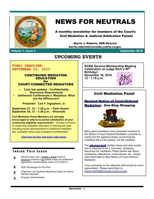 upcoming events - Superior Court, Riverside