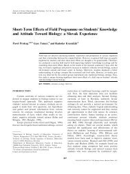 Short-Term Effects of Field Programme on Students' Knowledge and ...