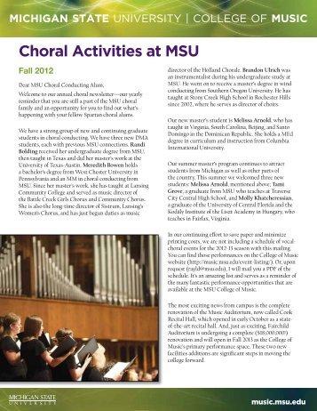 2012 Choral Newsletter - MSU College of Music - Michigan State ...