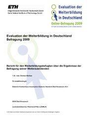 Evaluation der Weiterbildung in Deutschland Befragung 2009