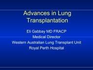 Advances in Lung Transplantation - Royal Perth Hospital