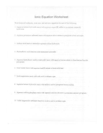 Formula, Ionic and Net Ionic Equations Worksheet (identifying ...