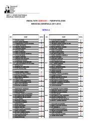 rezultate seminar i – fiziopatologie medicina generala 2011-2012 ...