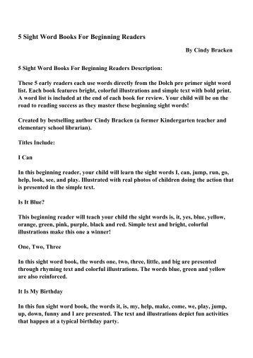 5 Sight Word Books For Beginning Readers - PDF eBooks Free ...