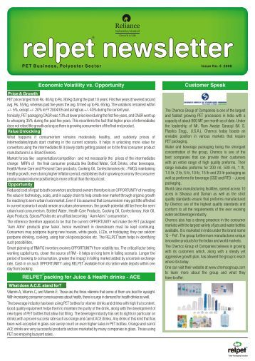 Relpet Newsletter issue3 2008 - Reliance Industries Limited