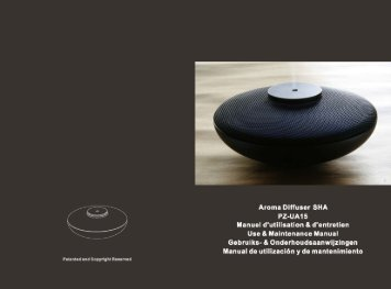 Aroma Diffuser SHA PZ-UA15 Manuel d'utilisation & d'entretien Use ...