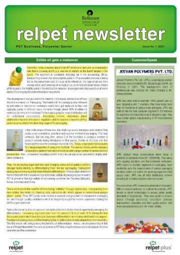 Relpet Newsletter issue1 2007 - Reliance Industries Limited
