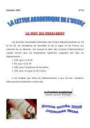 LE MOT DU PRESIDENT - UGSEL Versailles