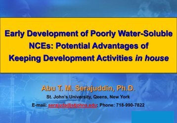 Early Development of Poorly Water-Soluble NCEs - American ...