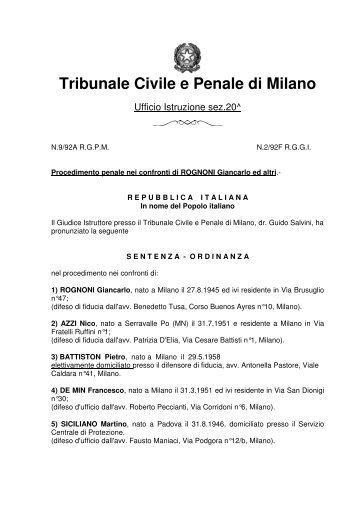 Tribunale Civile e Penale di Milano - Rita Atria