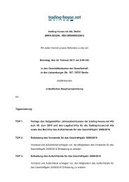 Einladung/Tagesordnung - trading-house.net