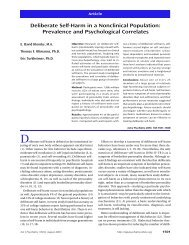 Deliberate Self-Harm in a Nonclinical Population - University of ...
