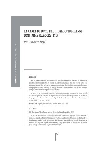 la carta de dote del hidalgo turolense don jaime marqués (1713)