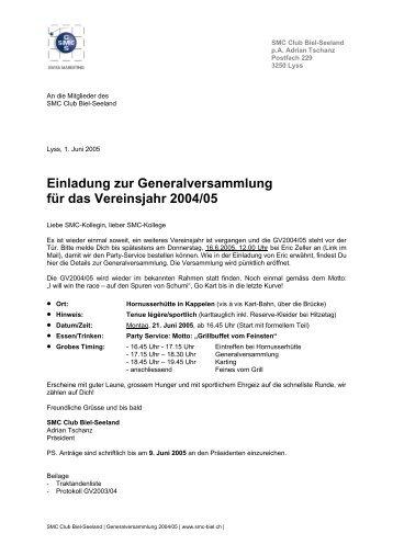 Einladung zur GV / Traktandenliste - SMC Biel-Seeland
