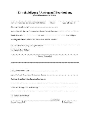 entschuldigungen und beurlaubungen gymnasium wentorf - Beurlaubung Schule Muster
