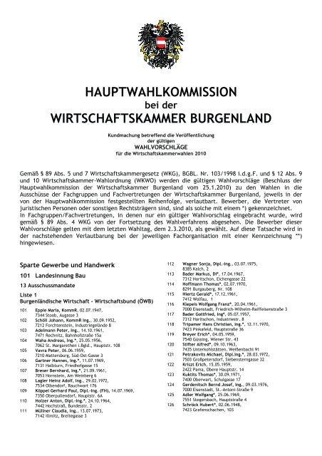 HAUPTWAHLKOMMISSION WIRTSCHAFTSKAMMER BURGENLAND
