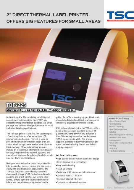 tdp-225 desktop direct thermal bar code printer - Barcode Basics