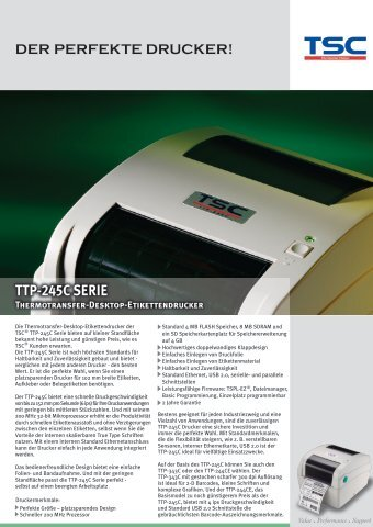 TTP-245C SERIE Thermotransfer-Desktop ... - ServoPack
