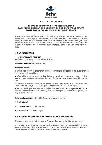 edital do processo seletivo doutorado 2013/2 - FDV