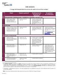 Aide-mémoire - L'usage du français dans les services de santé et ...