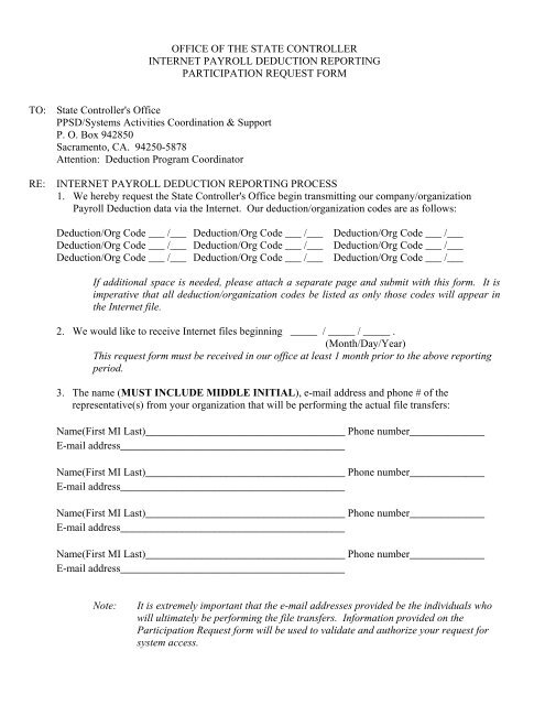 Internet Participation Request Form California State Controller S