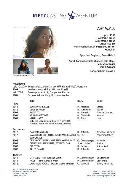 Amy Muãÿul Rietz Casting Agentur