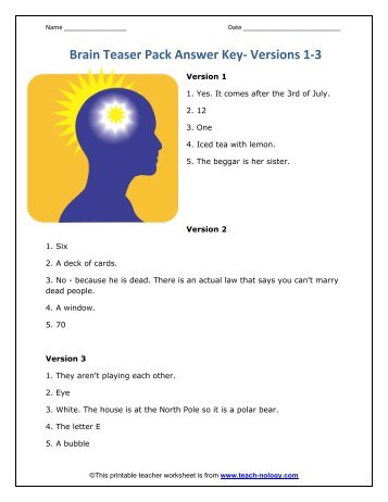 Brain Teasers Answers (sets 1-4) - Rapid Results