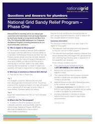 National Grid Sandy Relief Program – Phase One - Heating Help