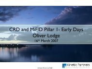 CRD and MiFID Pillar 1- Early Days Oliver Lodge - TISA