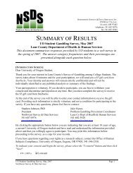 SUMMARY OF RESULTS - Lane County Prevention Program