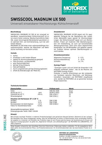SWISSCOOL MAGNUM UX 500 - Vemas