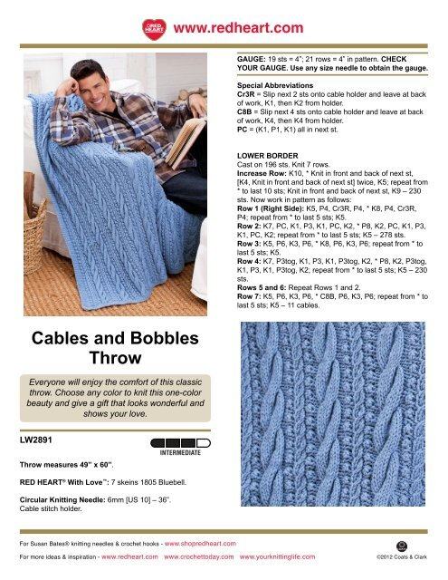 Cables and Bobbles Throw - Red Heart Yarn