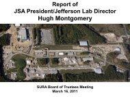 Report of the JSA President/JLab Director - Southeastern ...