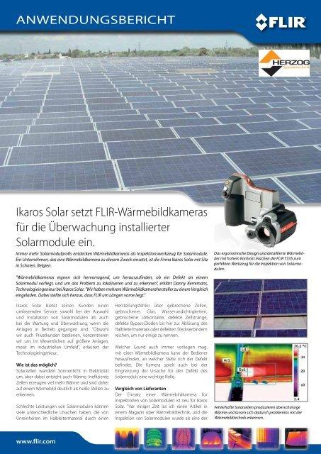 FLIR T335 für die Überwachung installierter Solarmodule