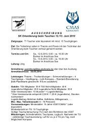 A U S S C H R E I B U N G SK Orientierung beim Tauchen 12./13 ...