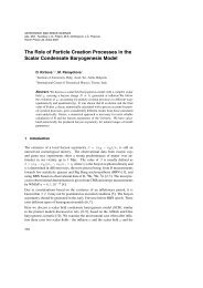 The Role of Particle Creation Processes in the Scalar Condensate ...
