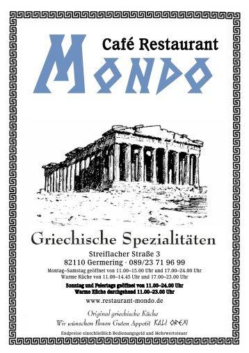 Unsere Speisekarte (Download als PDF) - Restaurant Mondo ...