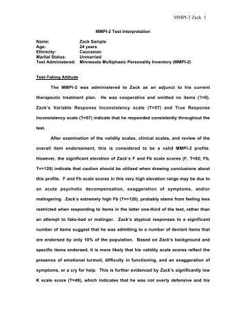 MMPI-2 Test Interpretation Name: Zack Sample ... - Meet the Faculty